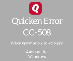 Quicken error CC-508